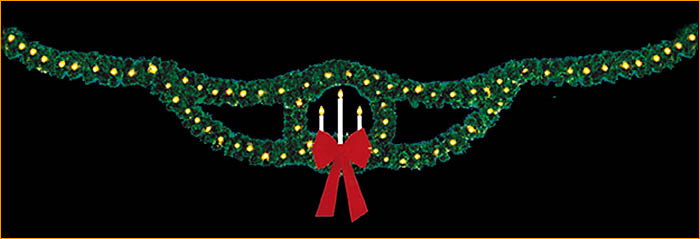 Rileighs Outdoor Decor Skyline Garland with Wreath Candles