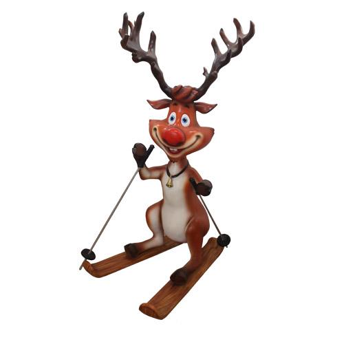Christmas Decorations - Fiberglass - Reindeer Skiing