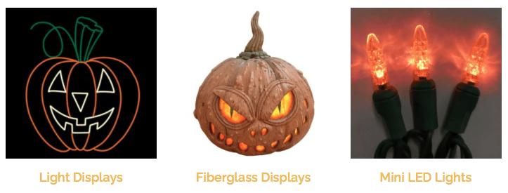 Halloween decorations: light pumpkin display, fibreglass pumpkin display, and mini orange LED lights