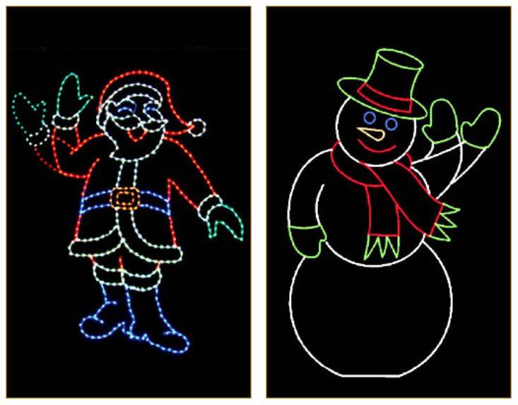 Christmas decorations: Light up Santa waving, Light up Snowman waving